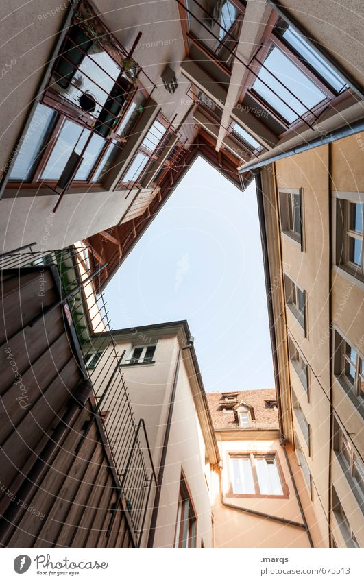 inner courtyard Living or residing Cloudless sky Old town House (Residential Structure) Building Architecture Facade Window Cool (slang) Sharp-edged Tall Modern