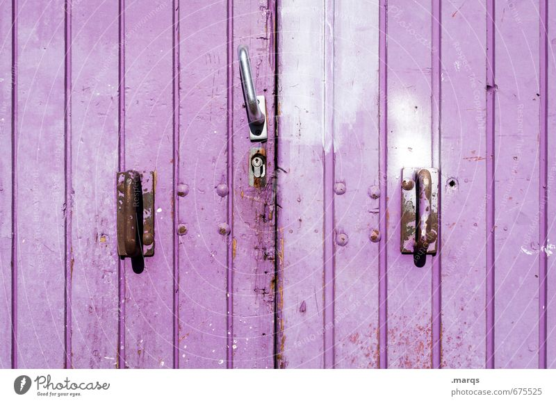 gate Door Gate Door lock Lever Line Old Simple Violet Colour Safety Closed Colour photo Exterior shot Close-up Structures and shapes Deserted Copy Space left