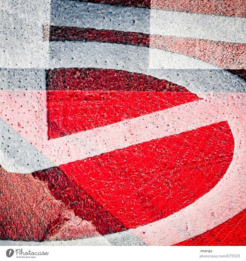 5 Style Design Asphalt Line Exceptional Uniqueness Crazy Red Black White Irritation Double exposure Colour photo Exterior shot Close-up Abstract