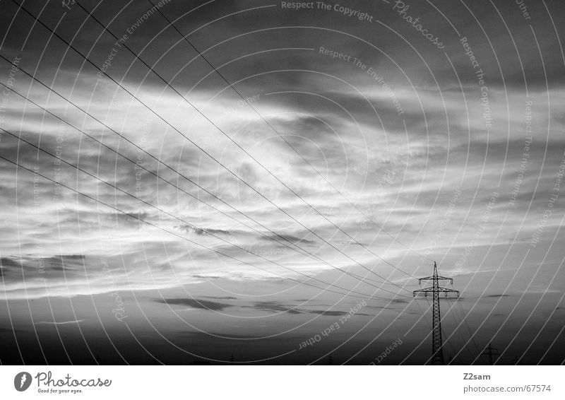 away in the nothing II Clouds Electricity Electricity pylon Sky Line Evening Black & white photo Far-off places lines Lanes & trails
