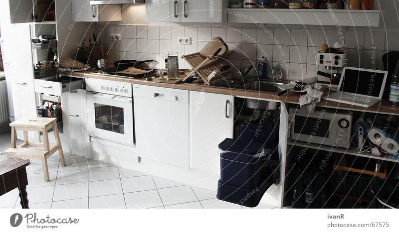 White Joy Dirty Cooking & Baking Kitchen Stress Chaos Pot Untidy