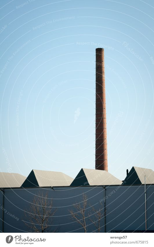 Factory hall with chimney Industry Industrial plant Roof Chimney Facade Skylight Blue Cloudless sky Blue sky Colour photo Subdued colour Exterior shot Deserted