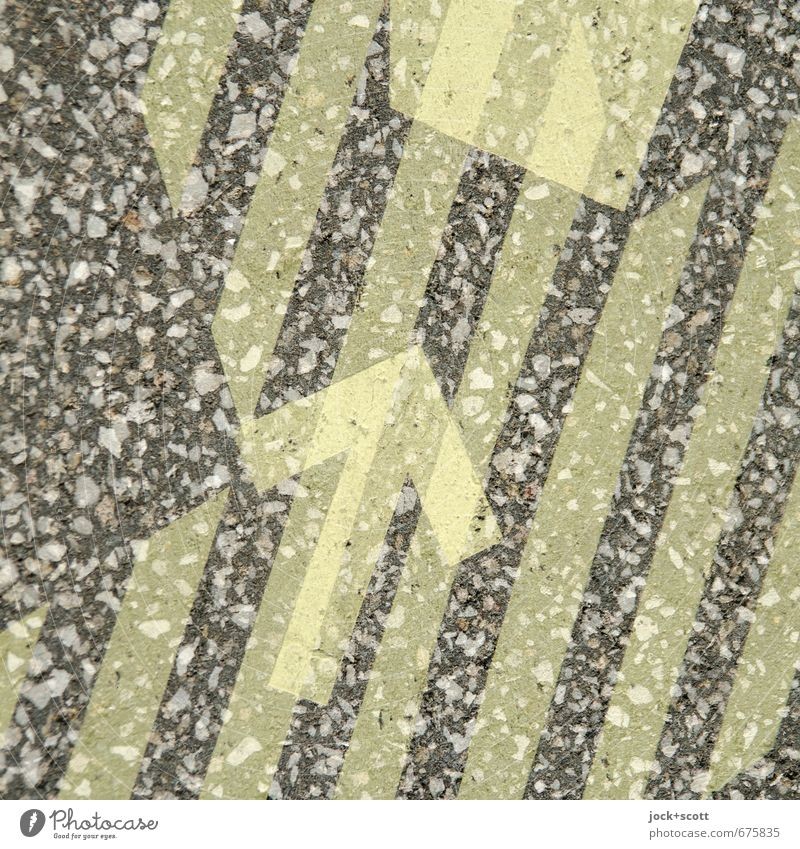 Arrow with target through stripes Style Illustration Traffic infrastructure Lanes & trails Sign Stripe Uniqueness Positive Yellow Moody Attentive Orderliness