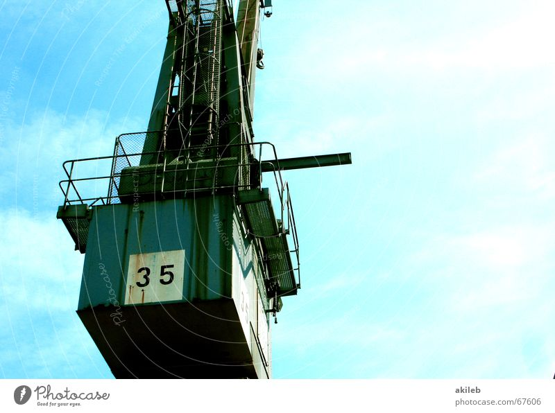 Sky Blue Summer Watercraft Technology Harbour Steel Weight Crane Container Lift Mince