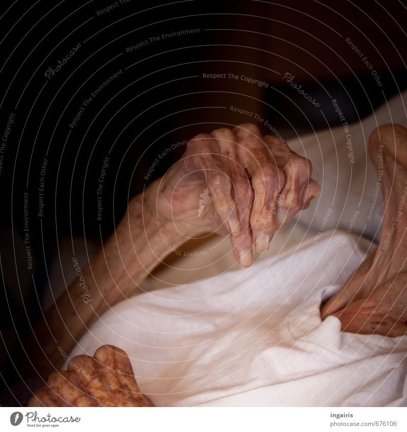 Human being Woman Old Hand Emotions Senior citizen Feminine Death Time Moody Arm Skin 60 years and older Transience Hope Female senior