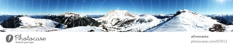 360° mountains Far-off places Winter Snow Mountain Winter sports Ski run Landscape Cloudless sky Horizon Sun Beautiful weather Alps Peak Snowcapped peak Large