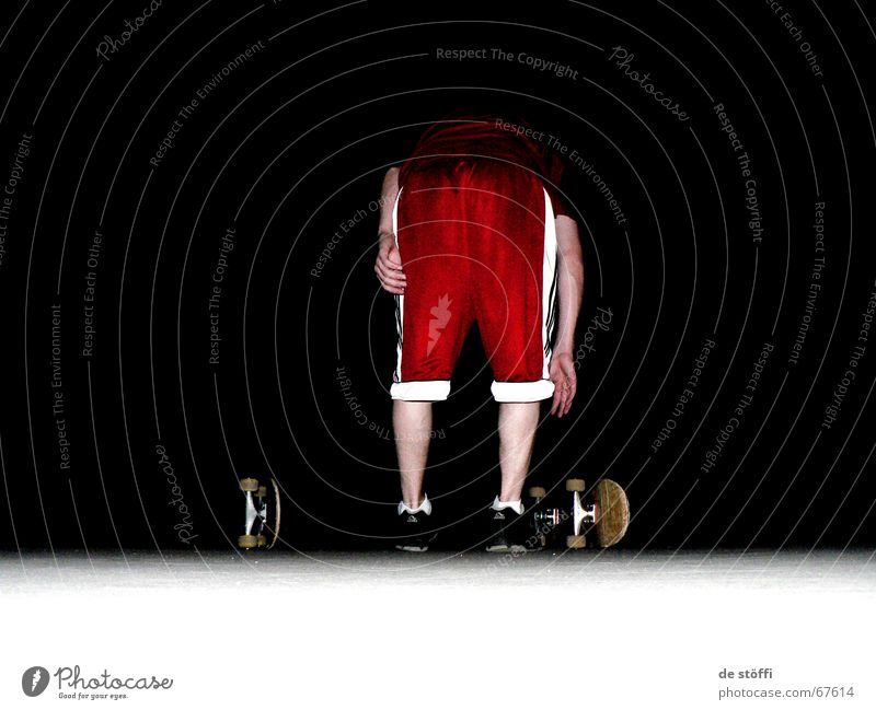Bend over! Fellow Skateboarding Tracksuit bottoms Red Night Hand Dark Beginning Calf Stoop 2 Selection boards white stripes on the ground Hind quarters