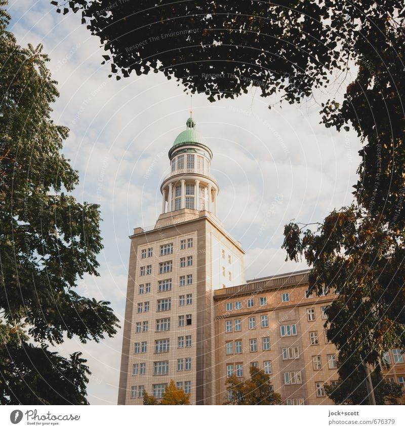 Sky City Beautiful Summer Tree Clouds Facade Air Elegant Beautiful weather Retro Tower Historic Past Monument Tradition