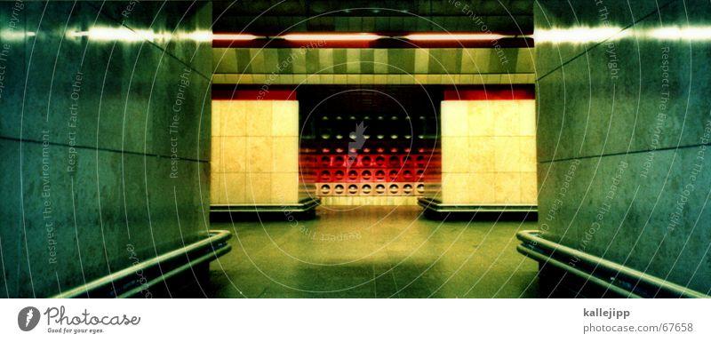 Red Black Lamp Gold Large Station Tunnel Underground Mixture Panorama (Format) Prague Socialism