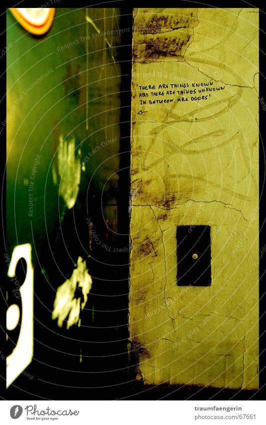 and in between are doors... Yellow Green Wall (building) Daub Dirty Label Plaster Belgium Door Bell Graffiti