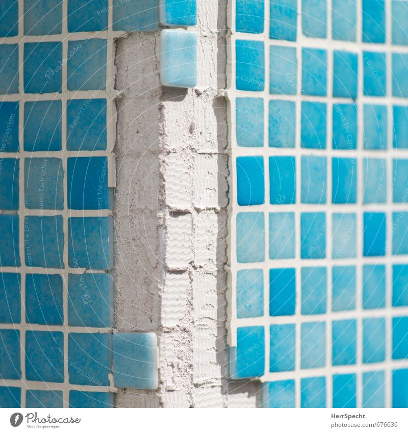 City White House (Residential Structure) Wall (building) Wall (barrier) Building Facade Gloomy Corner Broken Manmade structures Tile Turquoise Square Trashy