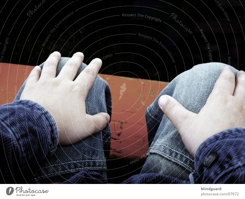 Child Hand Blue Relaxation Feasts & Celebrations Orange Wait Fingers Sit Jeans Gloomy Bench Observe Pants Wrinkles Boredom