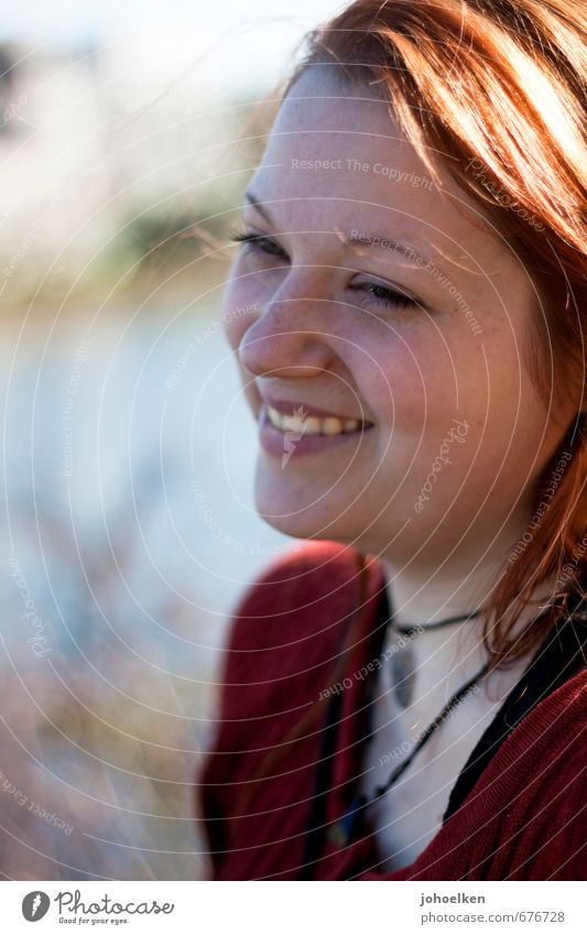 Portrait with sun Feminine Young woman Youth (Young adults) Face Mouth Teeth 1 Human being 18 - 30 years Adults Red-haired Long-haired Glittering Smiling