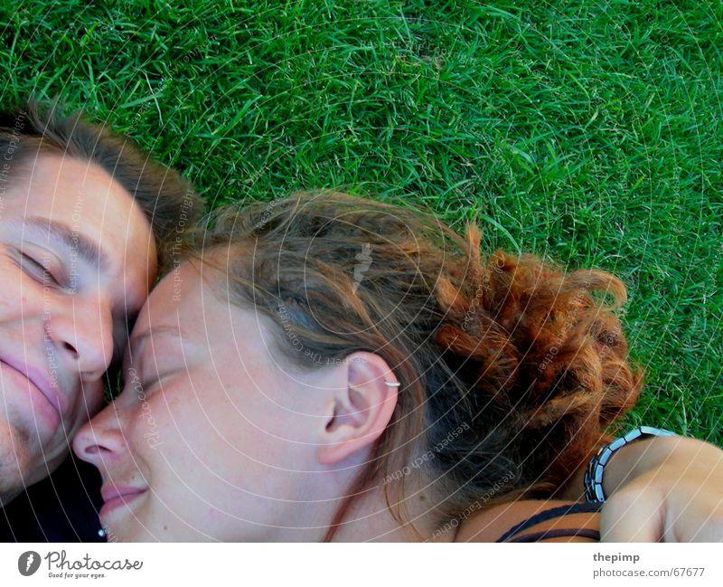 Two in the meadow Meadow Green Woman Man Relationship Dreadlocks Friendship Love Lovers