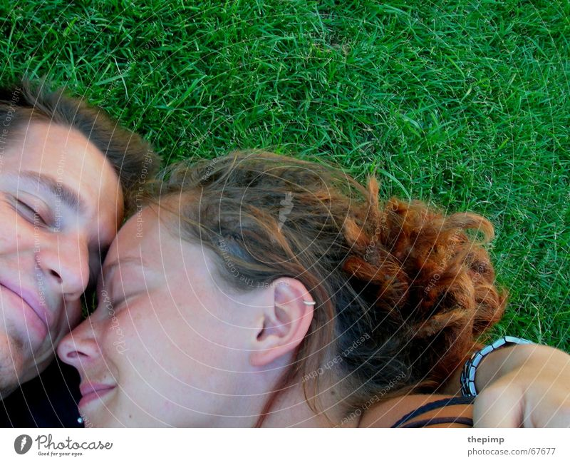 Woman Man Green Love Meadow Friendship Relationship Dreadlocks