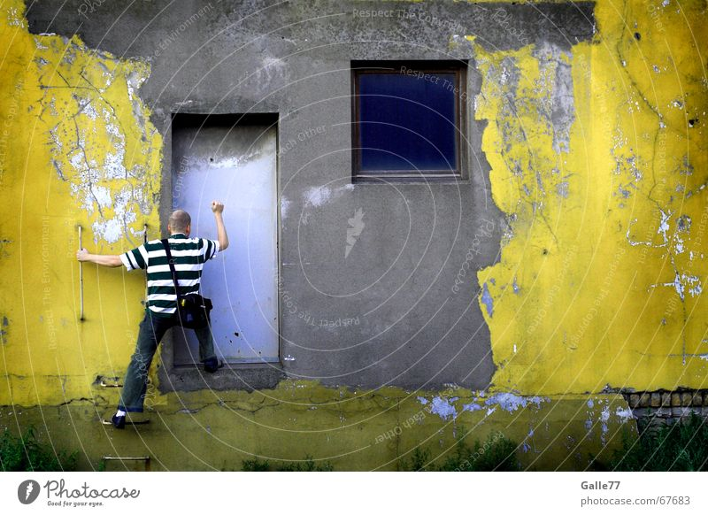 Knock, knock... Is anyone there? Facade Window Dismantling Wall (building) Wall (barrier) Door Industrial Photography Old Dirty Human being Knock at the door