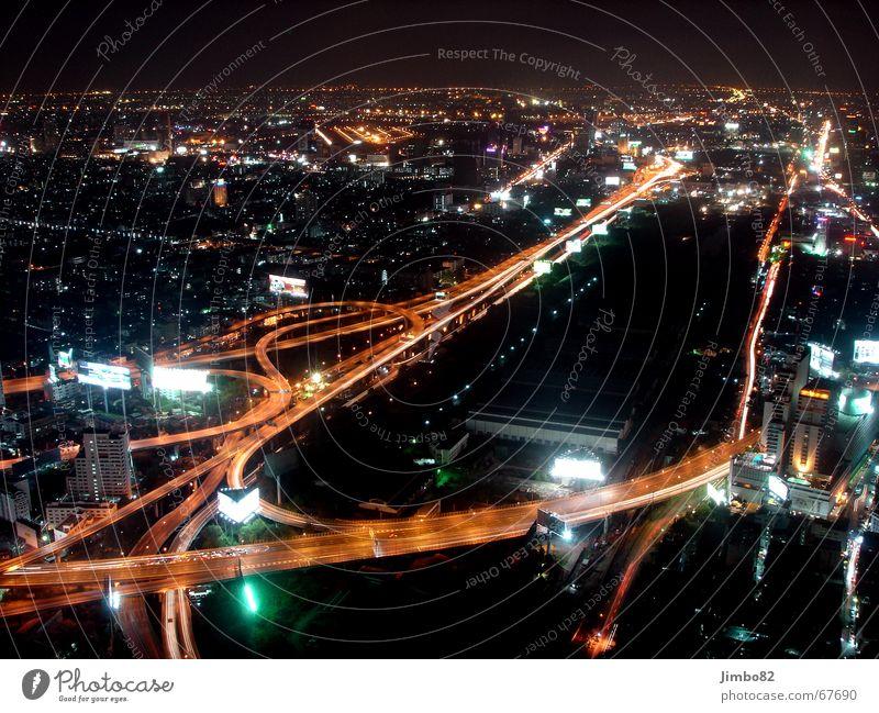 Bangkok at night Thailand Town Transport Dark Street Light Contrast