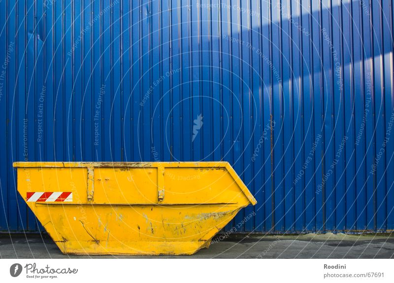 container Yellow Building rubble Trash Dismantling Construction site Scrap metal Scrapyard Collection Blue Container Dirty Metal Industrial Photography