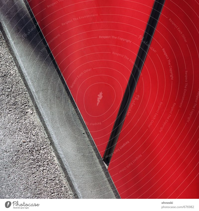 red wall Building Architecture Wall (barrier) Wall (building) Facade Street Line Red Colour photo Exterior shot Abstract Pattern Structures and shapes Deserted