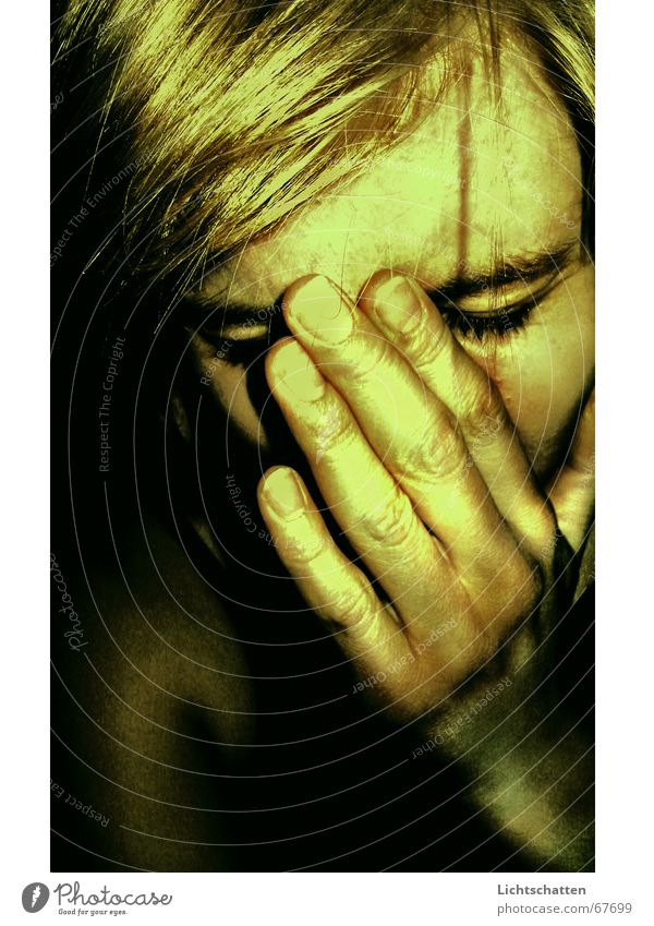 Woman Human being Hand Face Dark Sadness Fear Grief Pain Hide Concern Dark background