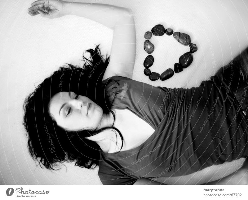 Longing (2) Emotions Dream Woman Heart Black & white photo Love Stone