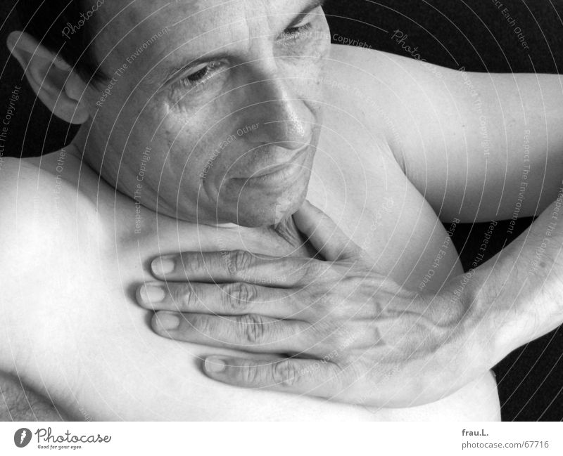 Human being Man Old Hand Face Relaxation Naked Senior citizen Lie Masculine Empty Broken Wrinkles Chest Pain Fatigue