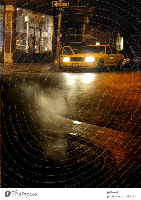City Yellow Street Rain Fog Wet USA Asphalt Night New York City Dusk Floodlight Manhattan Gully Taxi