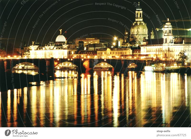 Canaletto at night Dresden Long exposure Night Light Frauenkirche Elbe Reflection Water