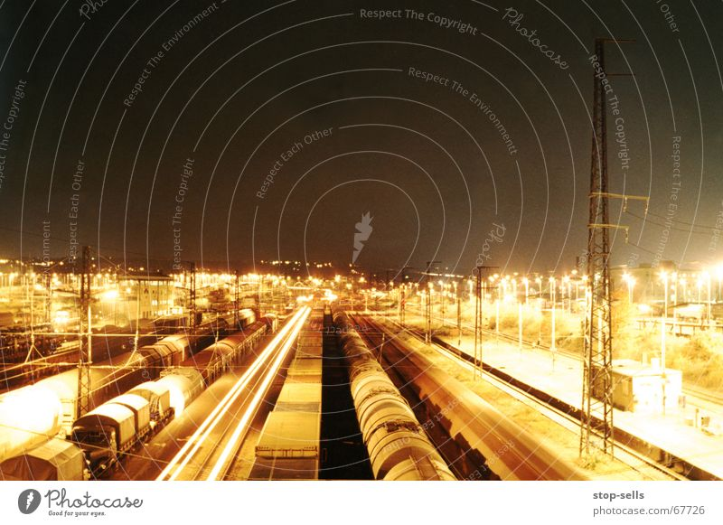 Going Railroad Logistics Industrial Photography Cleaning Dresden Radiation Train station Tracer path Freight train Freight station Freight car