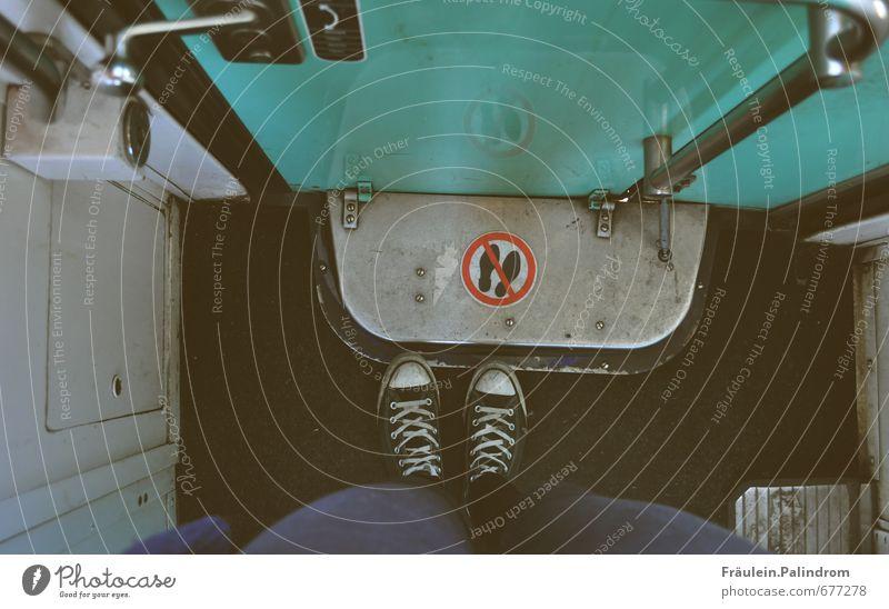 Human being Legs Feet Footwear Stand Signage Railroad Under Bans Sneakers Passenger traffic Chucks Rebellious Train travel Rail transport Tunnel vision