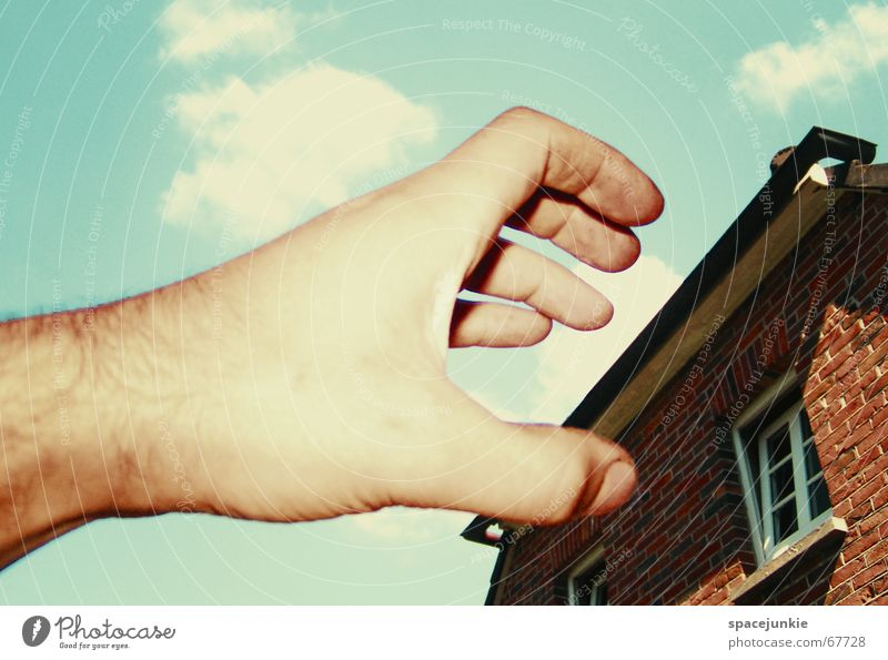 Hand Sky House (Residential Structure) Window Dream Threat Brick Surrealism Attack
