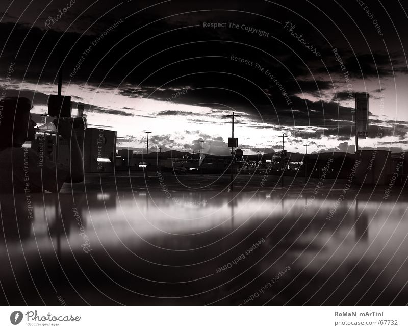Between day and night Twilight Parking lot Clouds Exterior shot Black & white photo Sky Mountain Freedom