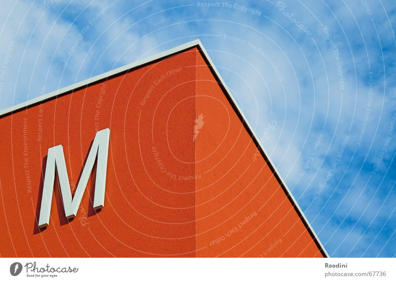 Sky Blue Red Clouds Building Weather Signs and labeling Perspective Corner Roof Letters (alphabet) Symbols and metaphors