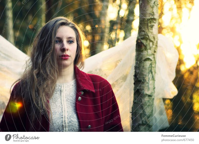 Human being Woman Nature Youth (Young adults) Beautiful Red Young woman 18 - 30 years Forest Adults Feminine Spring Dream Idyll Fantastic Creativity