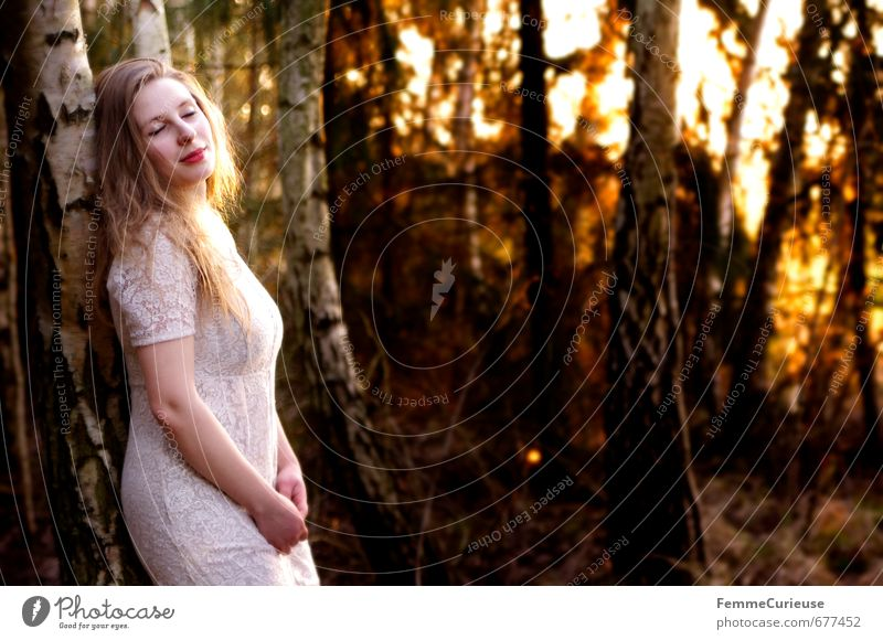 Spring awakening in the forest (I). Elegant Style Feminine Young woman Youth (Young adults) Woman Adults 1 Human being 18 - 30 years Fashion Dress Esthetic