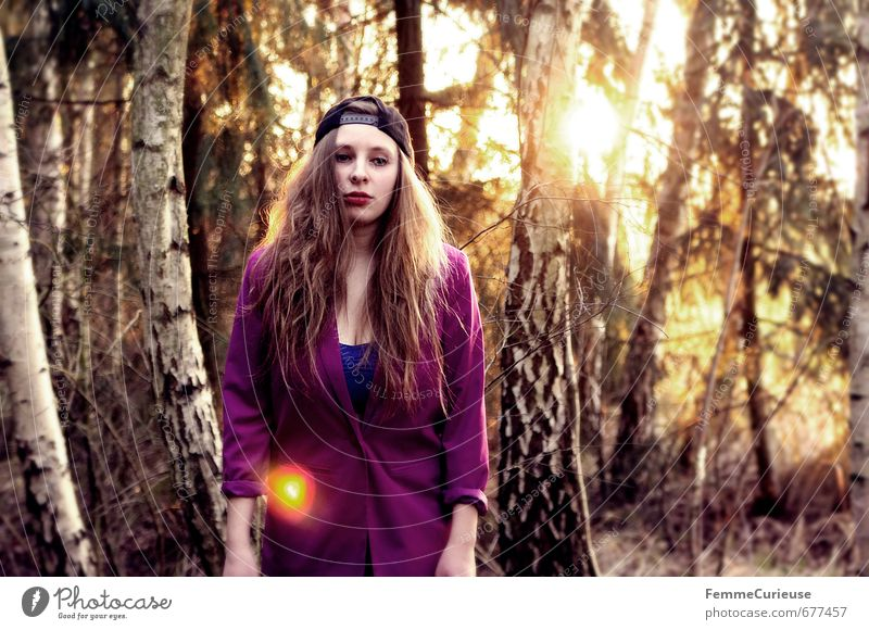 Human being Woman Nature Youth (Young adults) Beautiful Tree Young woman Calm Girl 18 - 30 years Forest Adults Feminine Style Fashion Idyll
