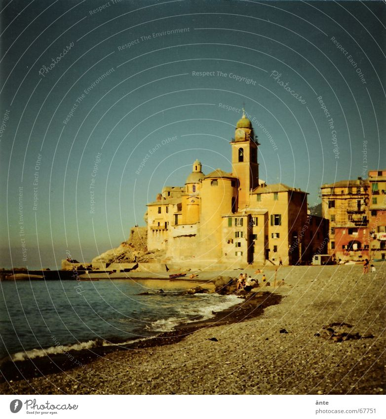 somewhere in Italy... Town Beach Ocean Waves Coast Progress Summer Society Vacation & Travel Middle Foam Gravel Sea water Multicoloured Mediterranean Southern