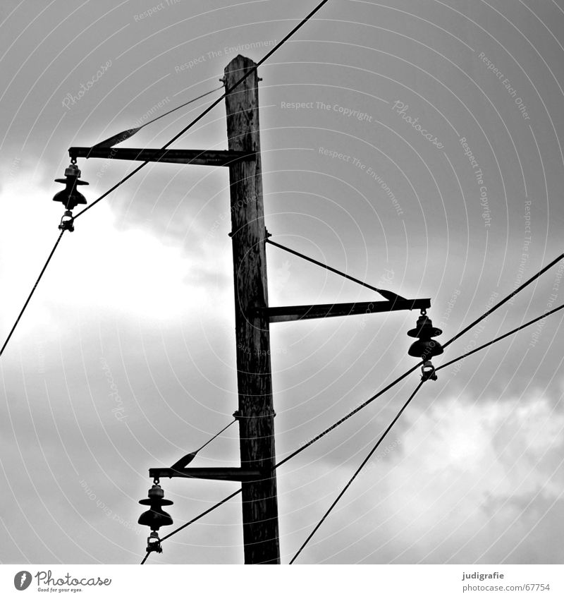Sky White Black Clouds Wood Line Power Energy industry Electricity Cable Electricity pylon Transmission lines
