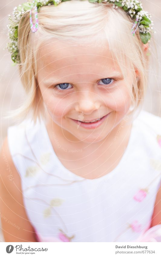 Human being Child Blue Beautiful Green White Flower Girl Face Eyes Life Feminine Hair and hairstyles Head Blonde Skin