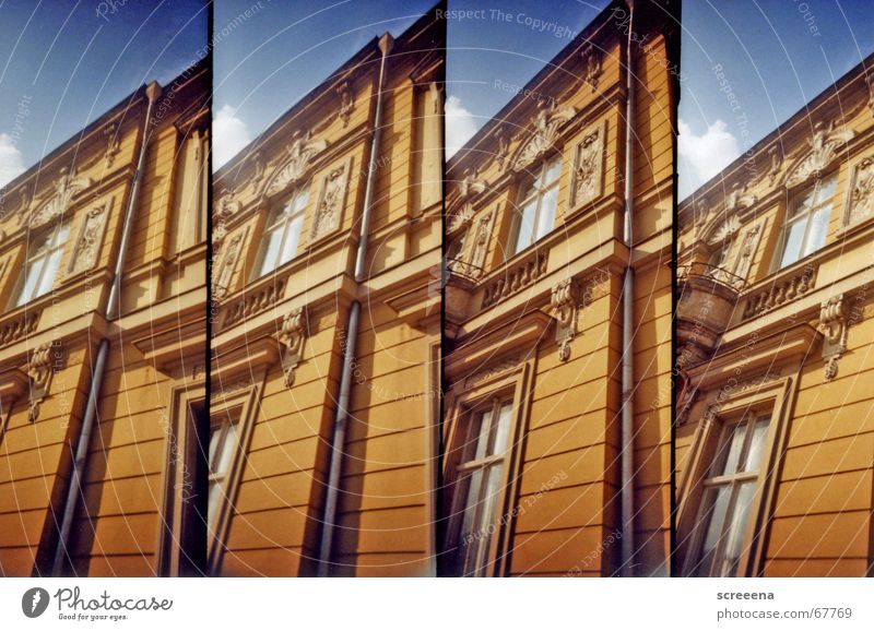 neversleeper Potsdam House (Residential Structure) Window Old building Lomography supersampler Orange Blue Sky Architecture