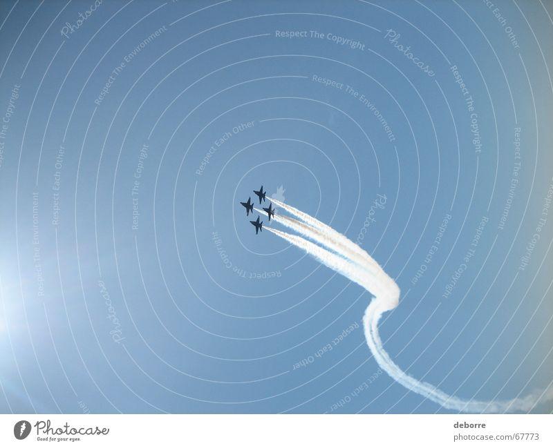 The Blue Angels flight demonstration squadron on a blue sky over lake Washington. Airplane Stunt Speed Pilot Jet Sky bluje angels Navy