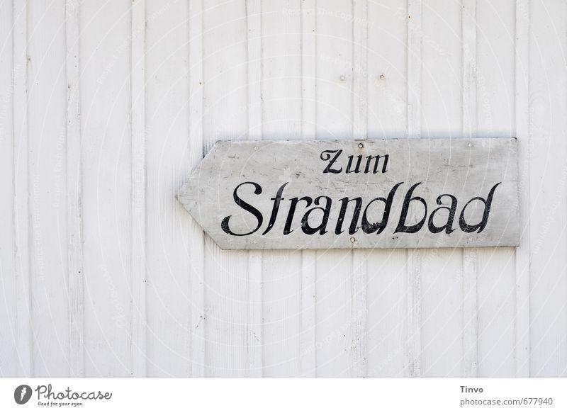 """Sign """"Zum Strandbad"""" on white wooden wall Swimming pool Leisure and hobbies Aquatics Swimming & Bathing Sporting Complex Summer Wood Characters"""