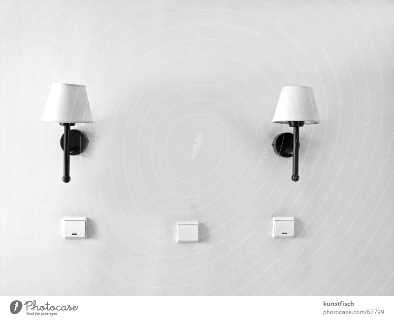 clinically white Vacation & Travel Hotel room Room Light Lamp 2 Lampshade Switch 3 Bracket Black White bedroom In pairs