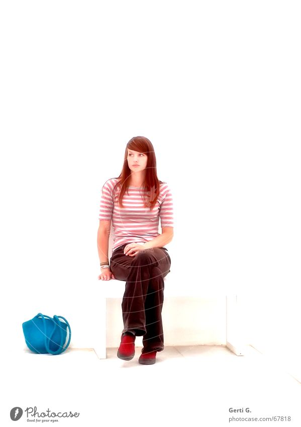 sitting.waiting.wishing Woman Young woman Bag Multicoloured Long-haired Beautiful Red-haired Thin Red undertone Human being felt bag Sit Bench Wait Looking Legs