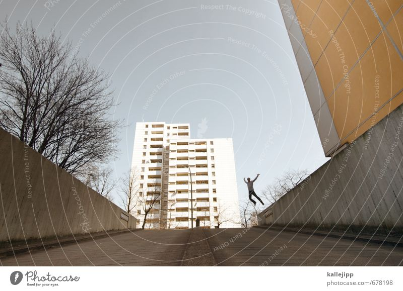 plate with jump Human being Masculine Man Adults Body 1 30 - 45 years House (Residential Structure) High-rise Wall (barrier) Wall (building) Jump Tree Parkour