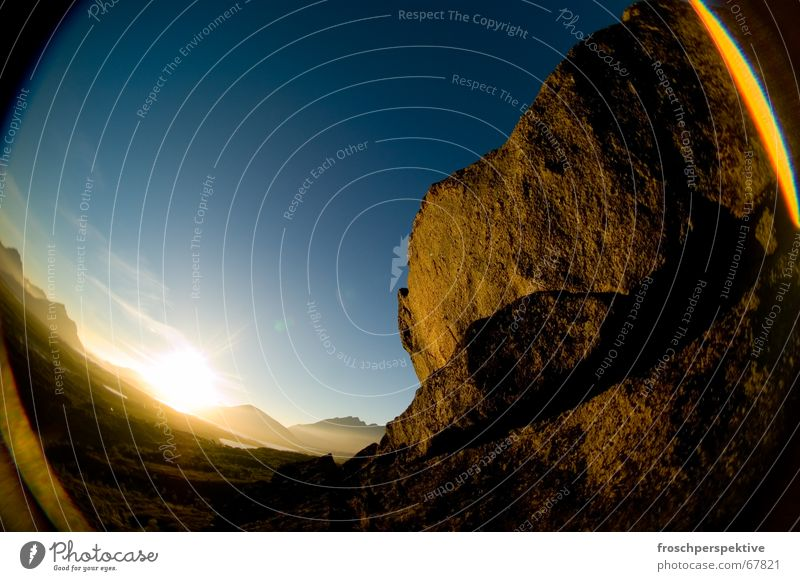 Romantic Sunset Lofotes Midnight sun Romance Loneliness Sky Fisheye steal Blue Mountain romantic Stone Rock
