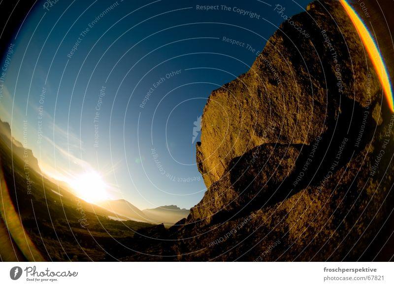 Sky Blue Loneliness Mountain Stone Rock Romance Norway Lofotes Midnight sun