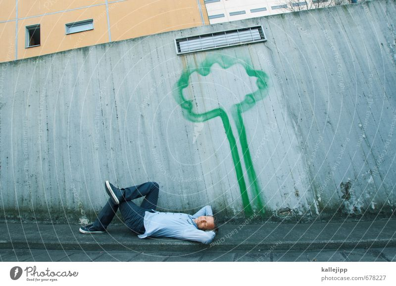 Human being Nature Man Green Tree Relaxation Calm Adults Environment Graffiti Life Wall (barrier) Happy Healthy Garden Dream