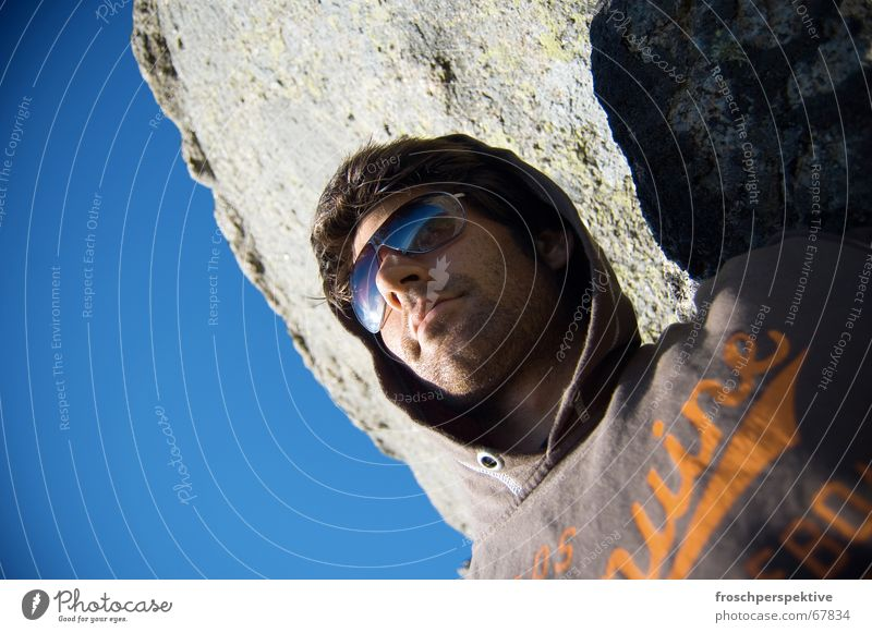 scandinavian summer Man Self portrait Sunbathing To enjoy Vantage point Summer Sky Rock Blue sunglasses hoodie Designer stubble 5-day beard