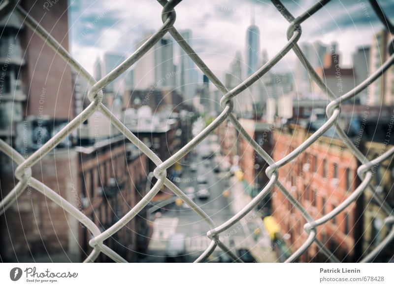 Sidewalk Safari Town Downtown Skyline Populated House (Residential Structure) Bank building Manmade structures Building Moody Surrealism New York City Fence